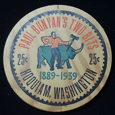 "1939 Hoquiam, Washington, ""paul Bunyan's Two Bits"", 25 Cents Wooden Scrip"