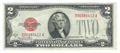 1928G $2 United States Red Seal Note Fr1508 D-A Block About Uncirculated