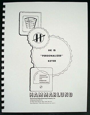 Hammarlund HK-1B HK1B Personalized Keyer Manual
