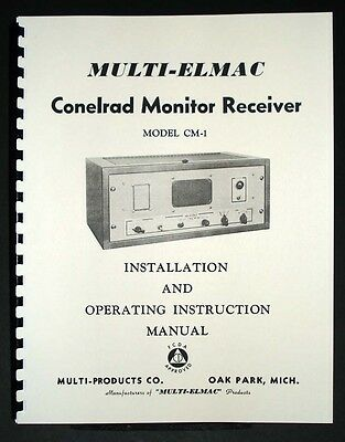 Multi Elmac CM-1  Motorola DS-9660B Conelrad Radio Receiver Manual