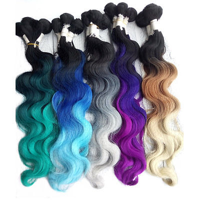 """18"""" 20"""" 22"""" 3 Bundles with Closure Synthetic Ombre Hair Weaving Weft Extensions"""