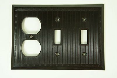 Vintage New Deco Ribbed Brown Bakelite 3 gang 1 outlet 2 Switch Plate NOS