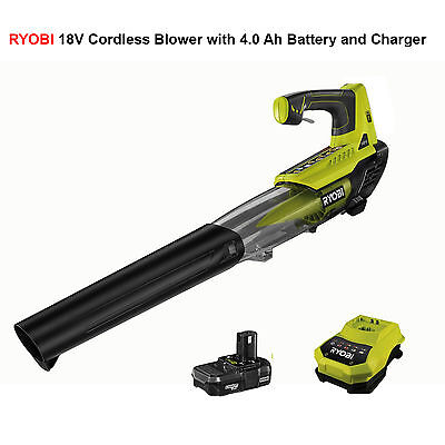 RYOBI 18V Cordless Lithium ion Blower with 4.0 Ah Battery and Charger