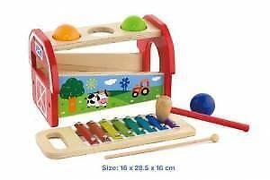 Wooden Toy Kids Pounding Bench with Xylophone