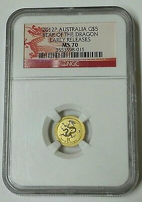 2012 Australia Year Of The Dragon 1/20 oz NGC Early Releases Gold Coin MS70