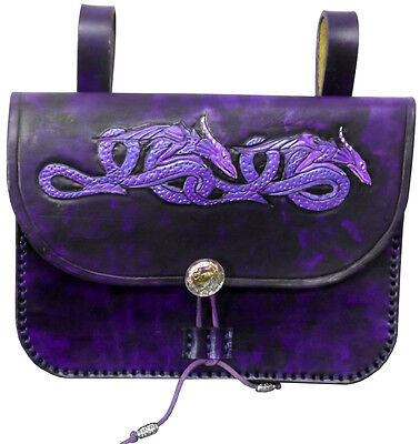 Purple Dragons Large Leather Belt Pouch Bag Hand Made LARP Knight Noble Lady
