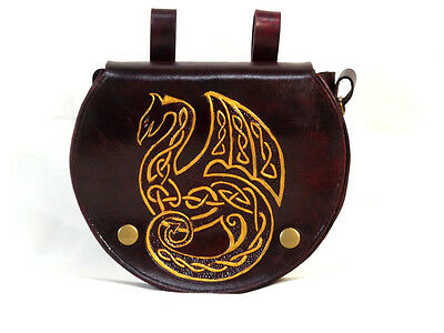 Red Gold Dragon Large Leather Belt Pouch Celtic Hand Made LARP Knight Noble Lady