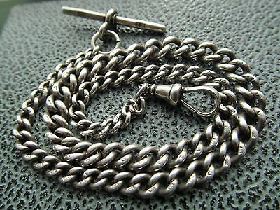Vintage silver graduated pocket watch chain with t bar and claw.
