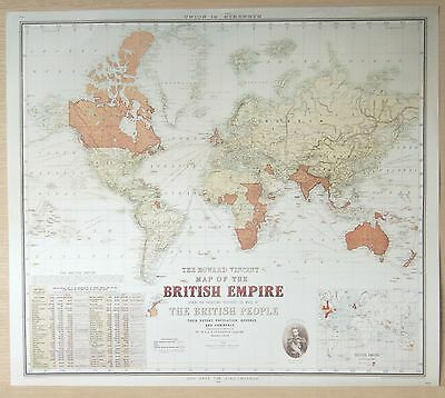 Howard Vincent Map of the British Empire 1924 - Lithographic Print - Unframed