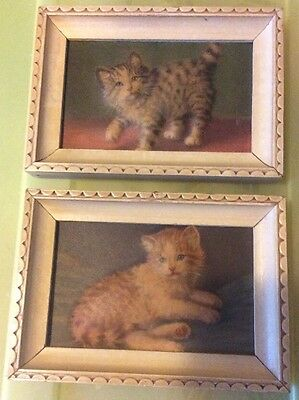 Vintage Cat Kitten Orange Gray Stripe Tabby Picture Print Art Puffy Raised 3D