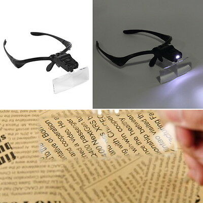 Headband Headset LED Head Light Magnifier Magnifying Glass Loupe 5 x Lens NEW NM