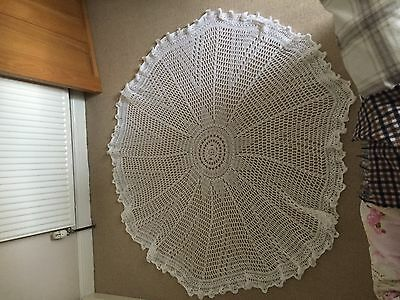 Heirloom White Handmade Christening Baptism Baby Crocheted Shawl