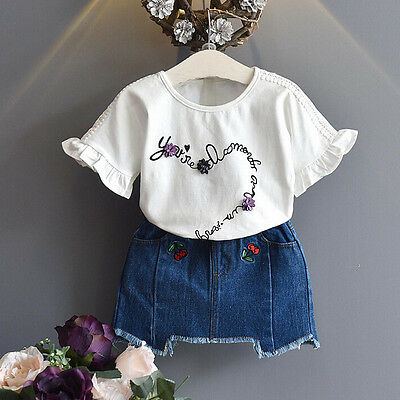 2PCS Toddler Kids Baby Girl Summer Outfit Clothes T-Shirt+Embroidery Denim Skirt