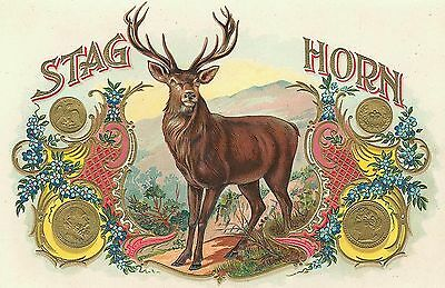Colorful STAG HORN  ANTIQUE CIGAR BOX LABEL T SHIRT SMALL-XXXLARGE (F)