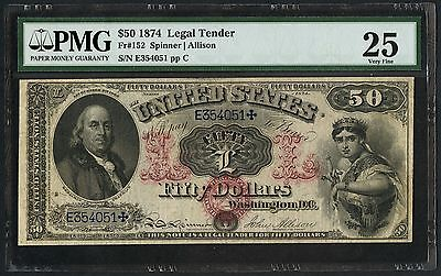"Fr152 $50 1874 Legal Tender "" Ll "" Note (Only 48 Known) Pmg 25 Vf Wlm3344"