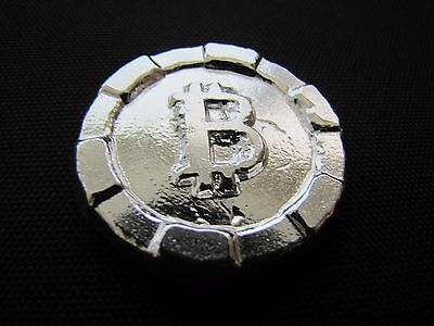HACMint 2.8 oz 999+ Fine Silver BITCOIN Hand Poured ART ROUND