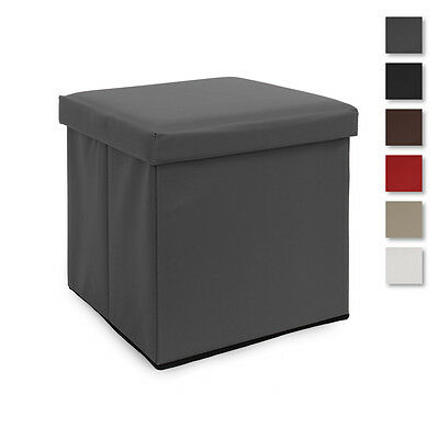 Smart pouf in simil pelle Box contenitore in tinta unita Q736