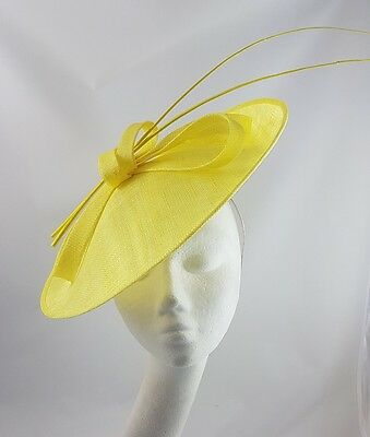 Yellow Hat Fascinator Disc Ascot Wedding Mother of the Bride Occasion