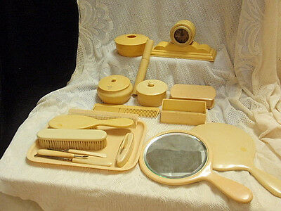 Vintage Retro Art Deco Beautiful Celluloid Vanity Dresser Set with Clock