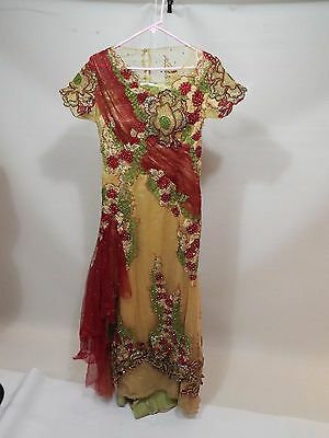 Gypsy red golden green wedding party studs stones dress gown size S free ship