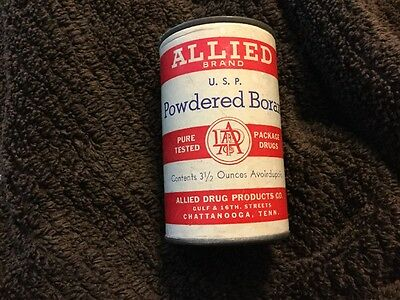Vintage Allied Brand Powdered Borax~3 1/2 ounce~Unopened~ Chattanooga