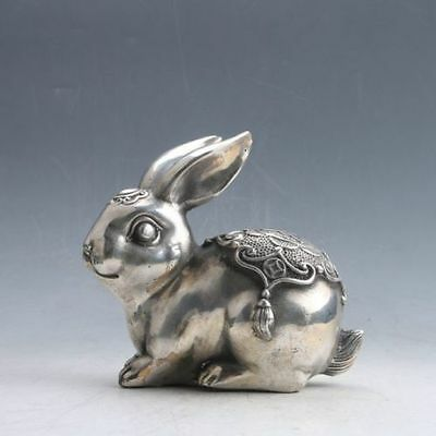 Chinese Tibetan Silver Hand Carved Rabbit Statue w Ming Xuan De Mark