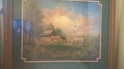 Home Interiors  Large  Picture  Gorgeous   22.5'' x 26.5'' HORSES W/BARN