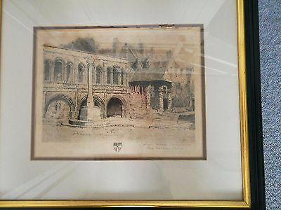 Framed Lithographic print of The Norman Porch, King's School, Canterbury