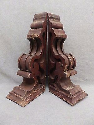 Antique Pair Wood Corbels Gingerbread Shabby Old Chic Cornice Vintage 553-17R