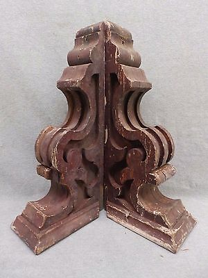 Antique Pair Wood Corbels Gingerbread Shabby Old Chic Cornice Vintage 554-17R