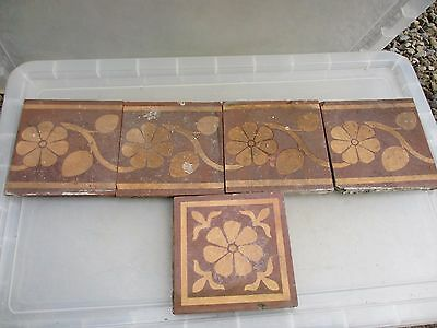 Antique Tiles Ceramic Terracotta Set x5 Victorian Architectural Vintage Old