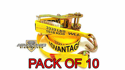 "Heavy Duty Ratchet Strap Tiedown 27'X2"" Wire Hook 10k Break Strength 10 Pack"