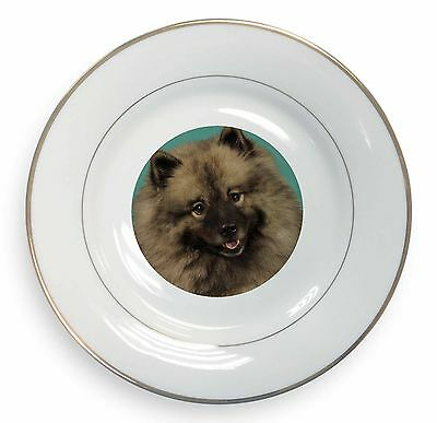 Keeshond Dog Gold Rim Plate in Gift Box Christmas Present, AD-KEE1PL