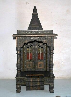 Old Antique India Wooden Hand Carved Brass Fitting Hindu God Worship Temple