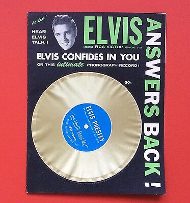Elvis Presley-Very Very Rare Green Elvis Answers Back With Disc Still Attached