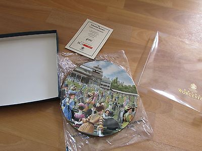 ETON & HARROW an Edwardian Summer CRICKET Scene Plate & COA by Royal Worcester