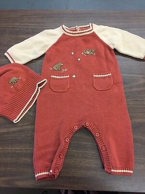 Nearly New • Janie And Jack Baby Boys Size 0/3 Months Outfit And Hat