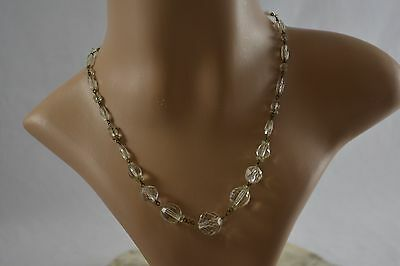 VINTAGE 1930s clear faceted glass bead necklace ART DECO with rolled gold clasp