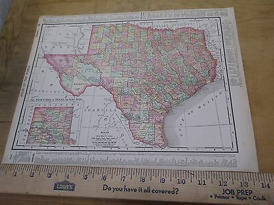 1898 State Map of Texas with Oklahoma/Territory on Reverse - Colored Counties