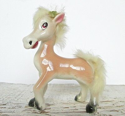 Vintage Mid-Century Painted Ceramic Horse Child's Palomino with Real Fur - Japan