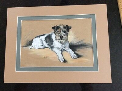 PASTEL DRAWING OF A DOG,BY N.POTTER 1935. Titled 'Ruffle'