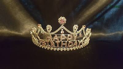 Beautiful Happy Birthday Tiara  Sparkling Pink and clear  Clear Rhinestone