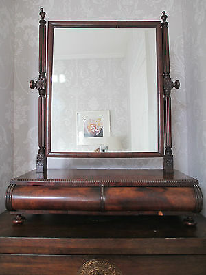 Regency Mahogany Box based Dressing Table Mirror with Drawers manner of Gillow