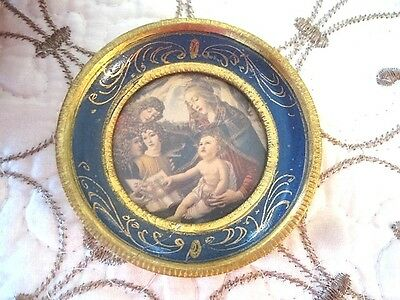 Vintage Etched Gilt French Blue Tole Wood Italian Florentine Madonna Picture