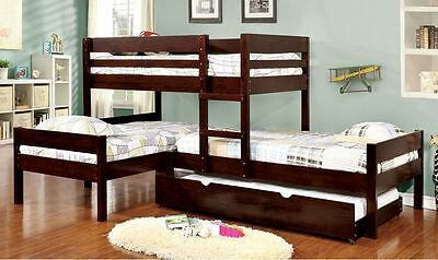 New L- Shaped Espresso Finish Three Twin Bunk Bed With Trundle
