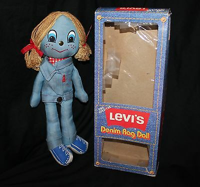 Vintage 1973 The Official LEVI'S Denim Rag Doll in Original Box - Knickerbocker