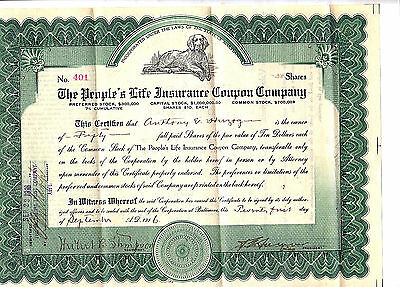 1916 People's Life Insurance Coupon Company Stock Certificate