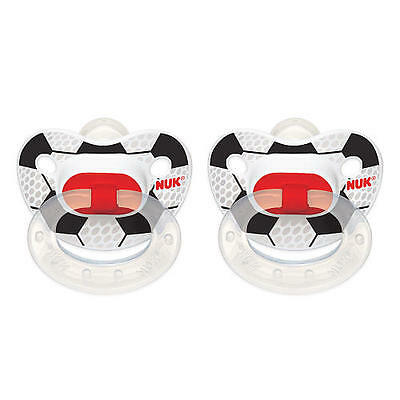 NUK Orthodontic 6-18 Months 2 Pack Sport Classic Silicone Pacifier  Soccer