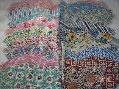 VINTAGE COTTON FABRIC 30's QUILT PIECES LOT 39 PIECES
