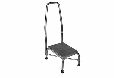 Footstool with Handrail - Non Skid Rubber Platfom - Cross Brace  (Holds 500 lbs)